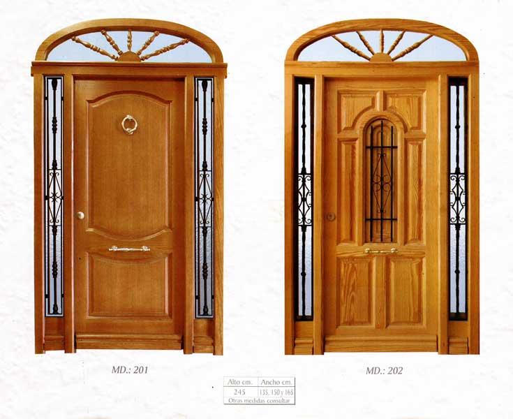 Puerta exterior madera 201 202 puertas y ventanas esquivias for Puertas de madera exterior precios