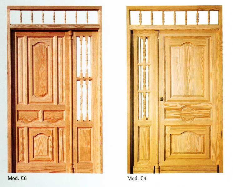 Puerta exterior madera c6 c4 puertas y ventanas esquivias for Madera para puertas exteriores