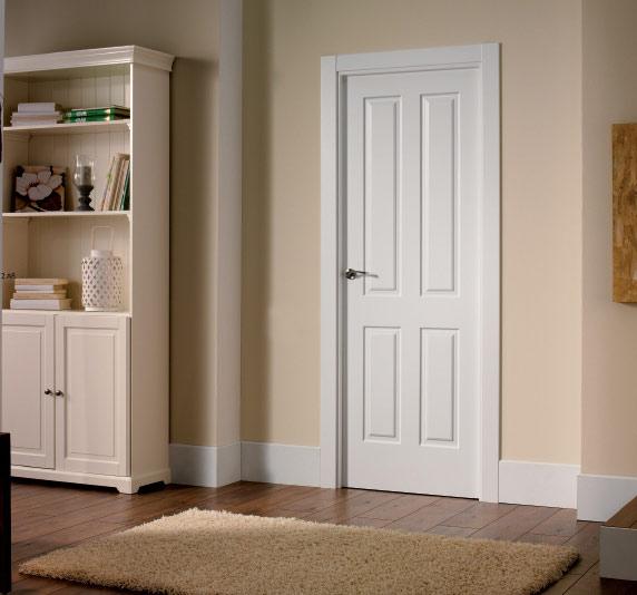 Puerta blanca plafones 4 l puertas y ventanas esquivias - Cristales decorativos para puertas de interior ...