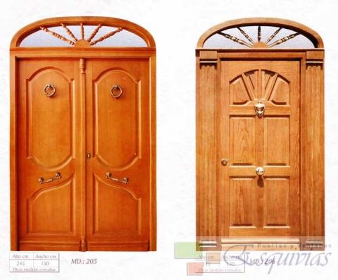 Puerta exterior madera 205 206 puertas y ventanas esquivias for Puertas de madera exterior precios